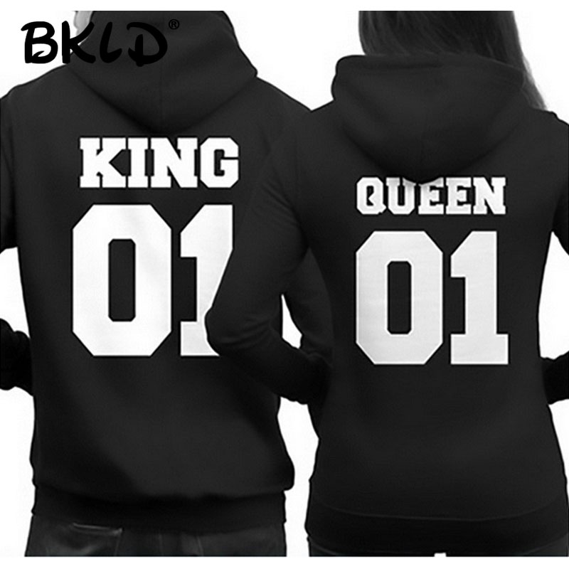 BKLD 2018 Fashion King Queen Hoodie Couple Pullover Sweatshirt Unisex Hoodies Causal Long Sleeve Crewneck Love Hoodies Men Women
