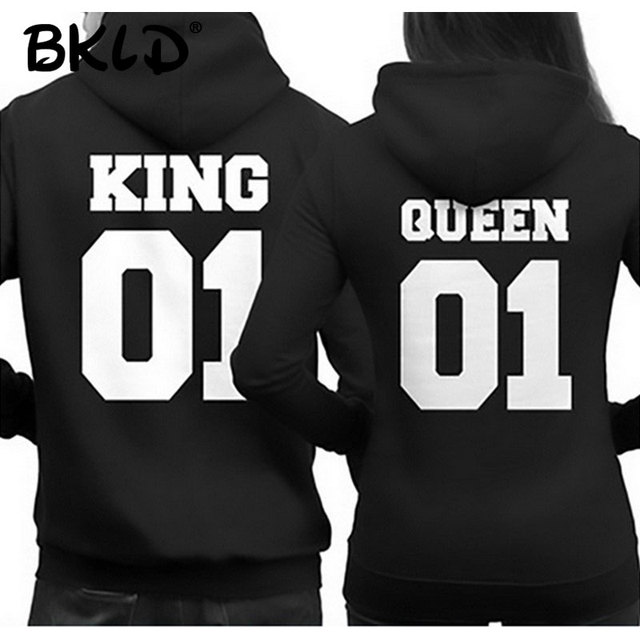 70d9c0d1c9d BKLD 2018 Fashion King Queen Hoodie Couple Pullover Sweatshirt Unisex  Hoodies Causal Long Sleeve Crewneck Love Hoodies Men Women