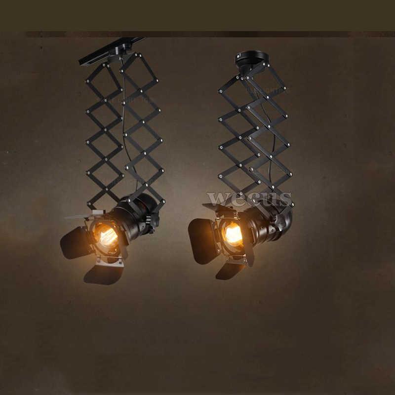 Ретро Чердачный, потолочный свет Регулируемый Регулируемая по высоте лампа гостиная Паб Бар этап ресторан-Кафе лампа из ткани магазин потолочный плафон