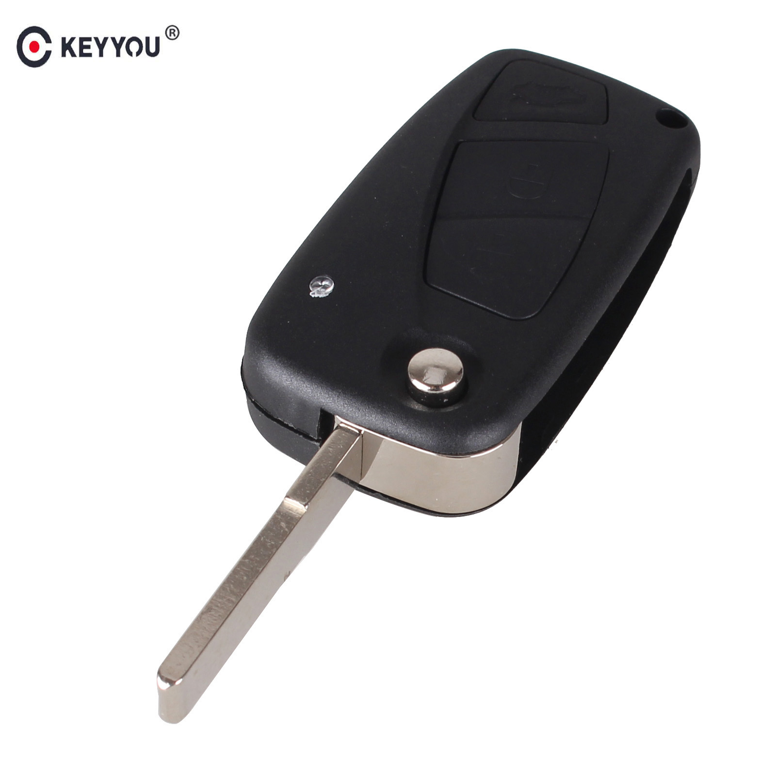KEYYOU For FIAT 3 Button Punto Ducato Stilo Panda Bravo Navy Flip Fob Black 3 BTN Folding Remote Key Shell Case SIP22 blade free shipping flip remote key shell colorful replacement cover shell for fiat 500 panda punto bravo case