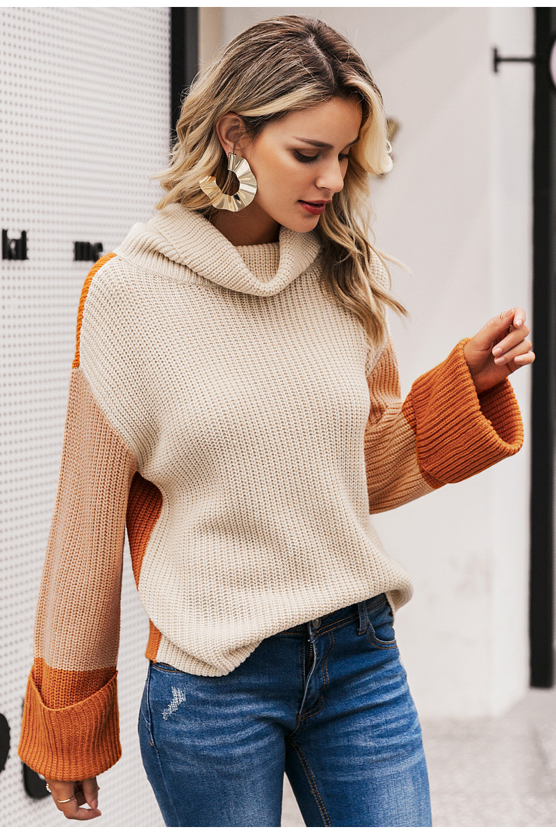 Simplee Patchwork turtleneck knitted sweaters female Casual long sleeve korean pullover jumper Women streetwear ladies sweater 7