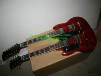 Custom 1275 Double neck left handed guitar Double neck Electric Guitar in red 6/12 strings Free Shipping