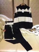 2016 Wool Full Sale Set 2 Sets Of Trend Stripes High Collar Striped Sweater + Leisure Harlan Pants Mink Casual Suit Two-piece