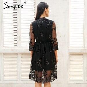 Image 4 - Simplee v ネックロングスリーブスパンコールパーティードレス女性のセクシーなメッシュストリートミディドレス女性 2018 春黒のドレス vestido