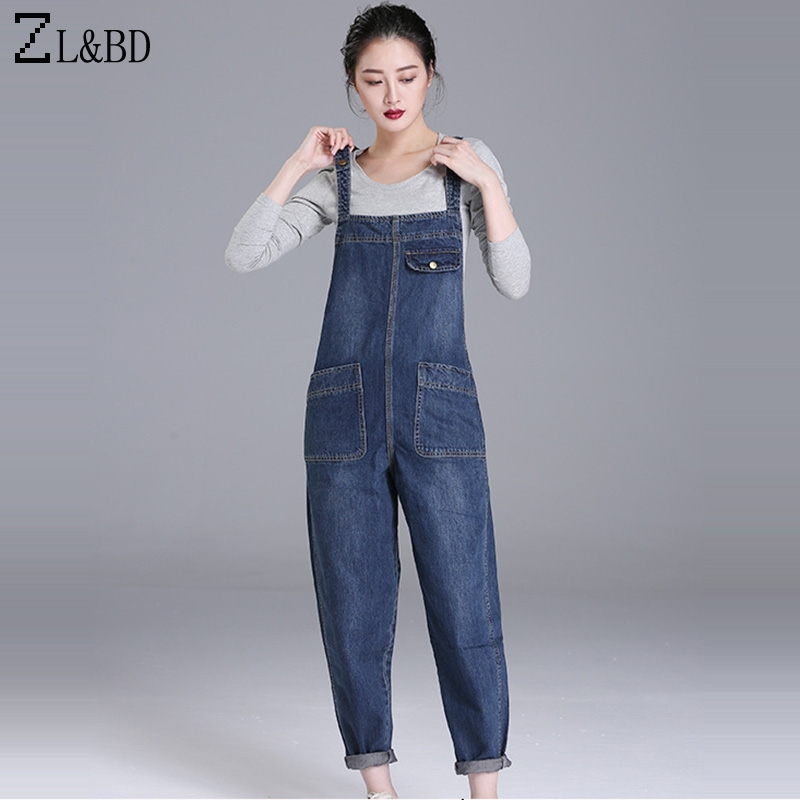 Zlbd Plus Size 6xl Korea Style Loose Denim Rompers Jumpsuit Womens