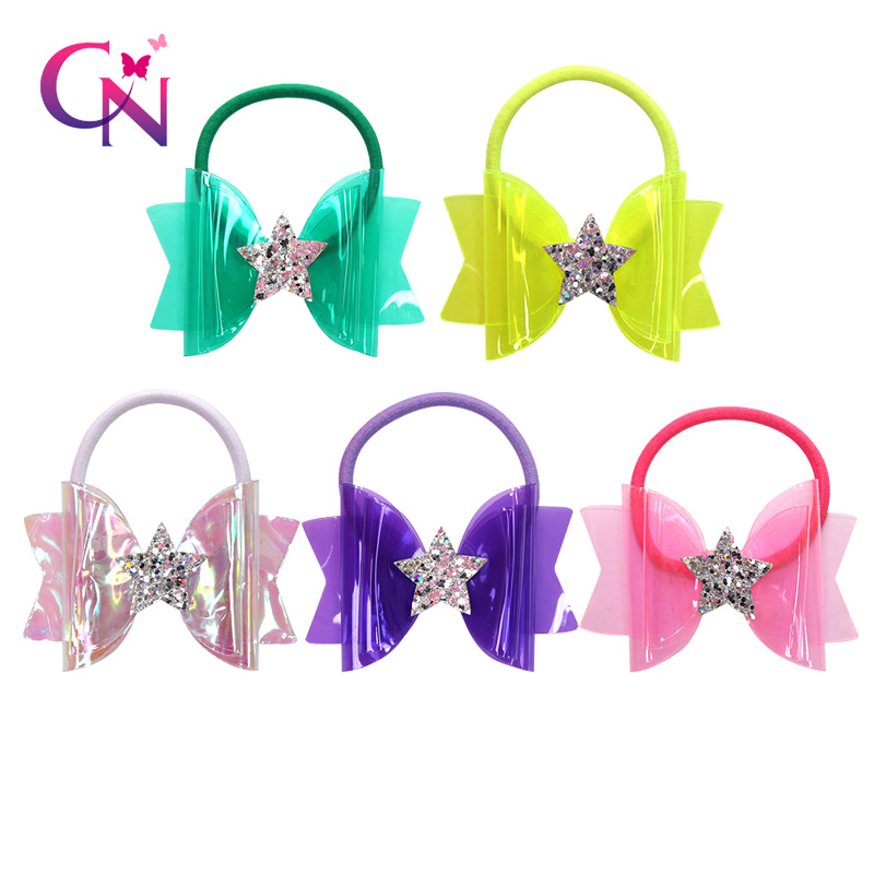 CN 10Pcs/lots 3'' Waterproof Jelly Bows With Elastic Hair Band For Girls Shiny Glitter Star Swim Pool Bows Kids Hair Accessories