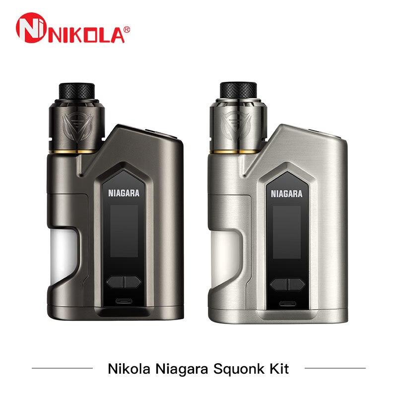 Nikola Niagara Squonk Kit 200 w Box Mod Kit Niagara 200 w Mod con Niagara RDA Serbatoio 6 ml Atomizzatore vape Doppia Batteria Vaporizzatore Vaper
