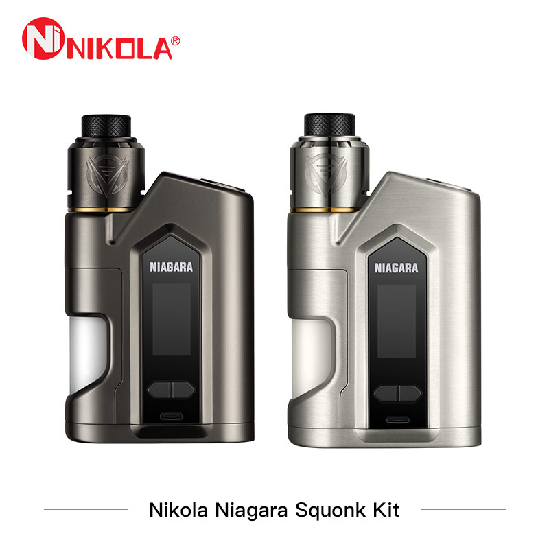 Nikola Niagara Squonk Kit 200 watt Box Mod Kit Niagara 200 watt Mod mit Niagara RDA Tank 6 ml Zerstäuber vape Dual Batterie Verdampfer Vaper