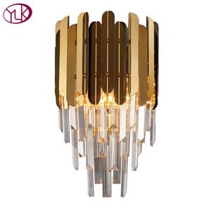 Image 5 - 高速無料現代の壁の燭台ランプ高級黄金の結晶壁照明器具を経由してledウォールランプの寝室のベッドサイド、リビングルームdhl
