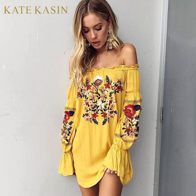 Yellow Short Mini Dress Women Y Slash Neck Off Shoulder Embroidery Flower Casual Dresses Long Sleeve