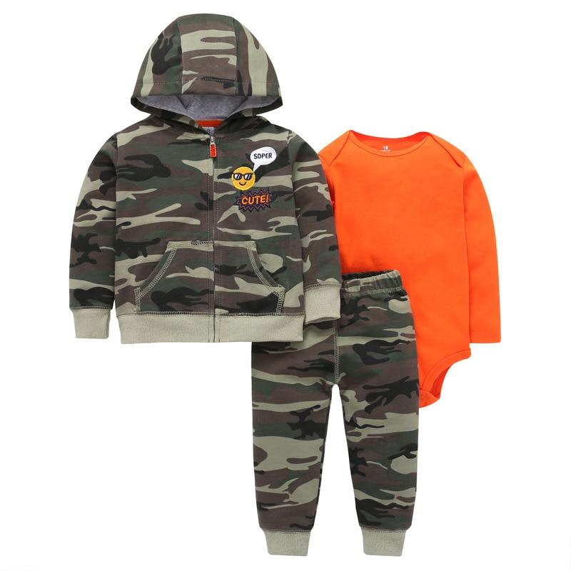3 Pieces Sets Baby Boy Girl Clothes Hoodie Zipper Long Sleeves Coat +bodysuit +pants Knit Jacket Winter Bebe Kids Clothing
