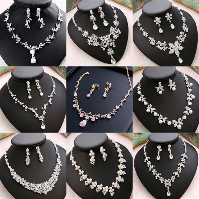 CC Wedding Engagement Jewelry Necklace Earrings Bracelets 2Pcs Sets Bridal Hair Accessories For Cubic Zircon Pearl Charm m011
