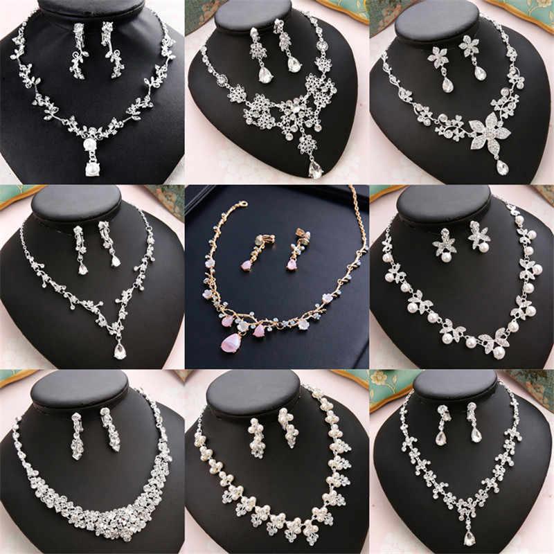 CC Wedding Engagement Jewelry Necklace Earrings Bracelets 2Pcs Sets Bridal Hair Accessories For Cubic Zircon Pearl Charm m011