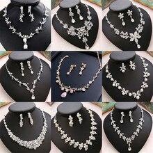 Cc casamento noivado jóias colar brincos, pulseira 2 peças conjuntos de acessórios para o cabelo cúbico zircônia pérola charme * 11