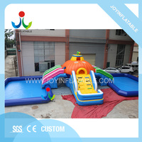 Halloween ground moving amusement park inflatable water slide with two swimming pool for sale