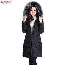 73014c8e Talla grande 5XL Chaqueta larga de invierno 2018 nuevos abrigos de invierno  para mujer cuello de piel grande abrigo para mujer c.