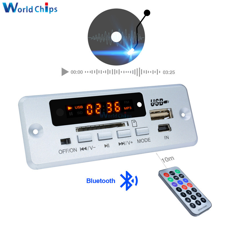 US $2 94 18% OFF|Mini 5V MP3 Decoder Board Bluetooth Call Decoding Module  MP3 WAV U Disk & TF Card USB With 2*3W Amplifier Remote Controller-in