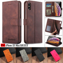 For iPhone XS Case Luxury Retro Flip PU Leather MAX X Coque Stand Wallet Phone Cases for XR Cover