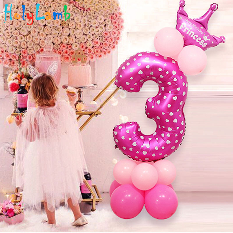 32-inch Digital Balloon Children's Birthday Cartoon Inflatable Children Birthday Party Decoration Party Hat Column Balloon Toy