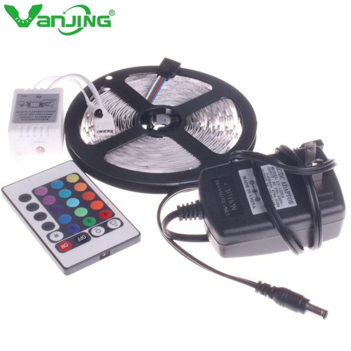 3528 LED Strip 5M 300Leds SMD med DC 12V 2A nätadapter, IR - LED-belysning