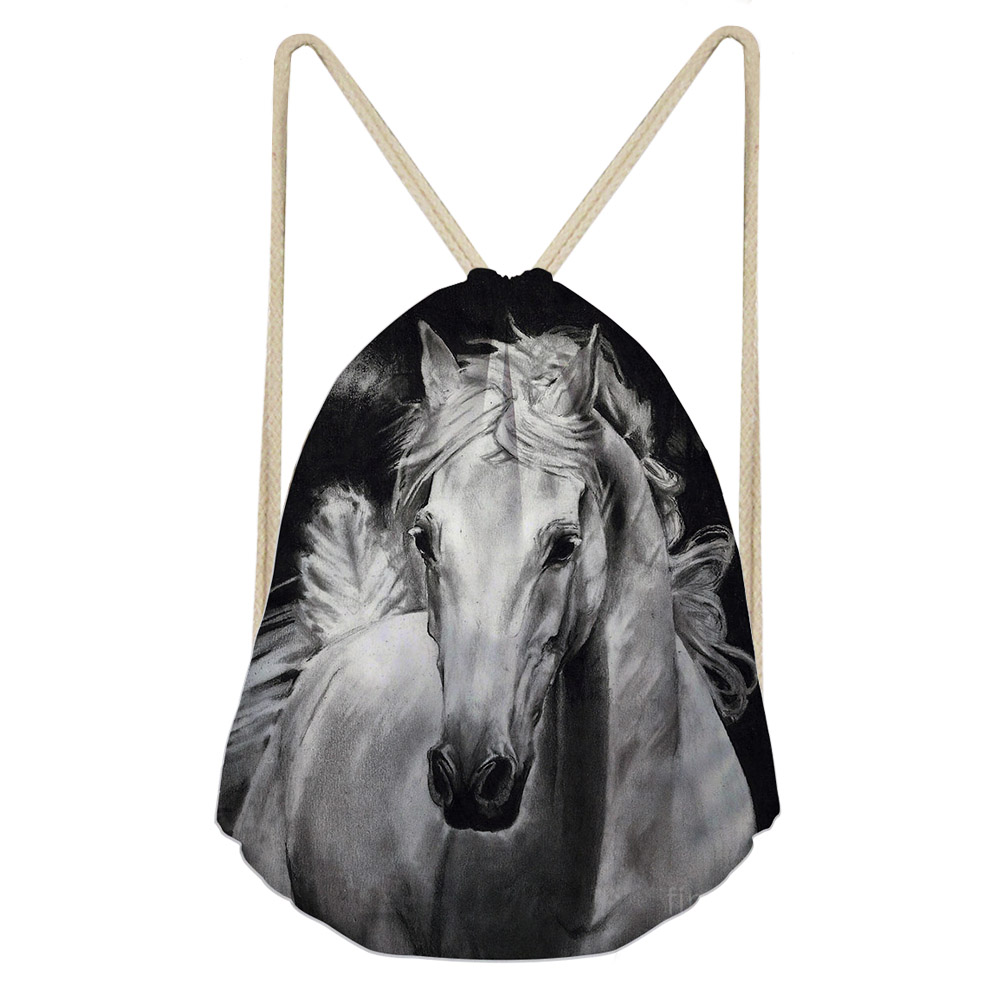 ThiKin 3D Crazy White Horse Print Casual Female Drawstrings Bags Women Men Backpacks Softback Storage College Students Daypacks