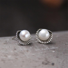 Newest Design Wholesale Jewelry Top Quality 925 Sterling Silver Shell Shape With Immitation Pearl Stud Earrings For Women