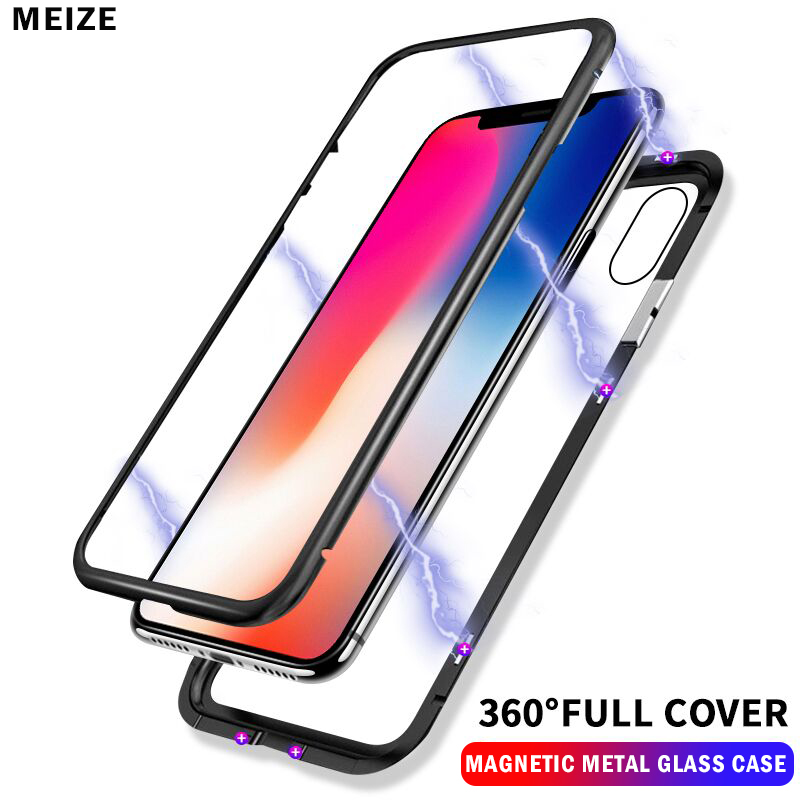 High Quality Magneto Magnetic Adsorption Metal Cases For iPhone 7 8 Plus Case Tempered Glass Back Cover For iPhone X Case glass in Fitted Cases from Cellphones Telecommunications