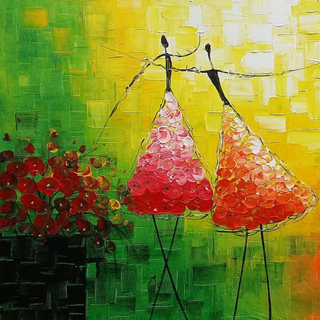 Online Shop Hand Painted Modern Abstract Art Ballet dancer oil ...