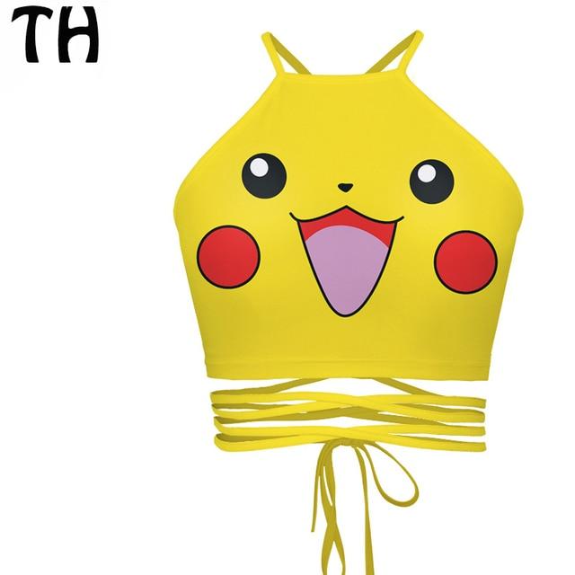 2016 Slim Pikachu Emoji Bralette Sexy Short Tank Tops Women Camisoles Bandage Summer Crop Top Bustier Feminino #160914C