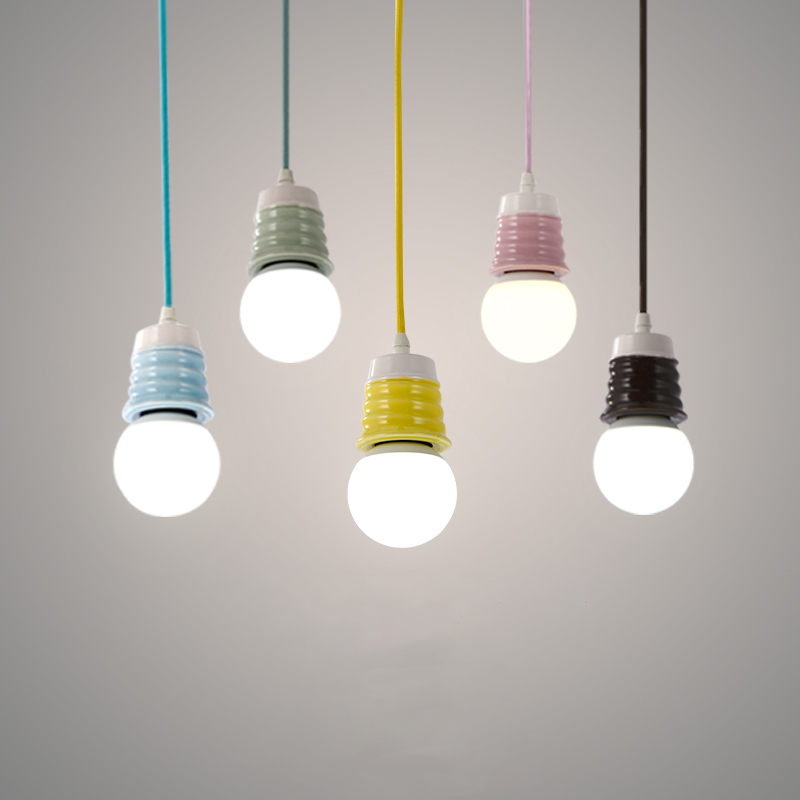Simple Ceramics Pendant Lights E27 Hanging Lamp Holder Decorative Lighting Suspension Li ...