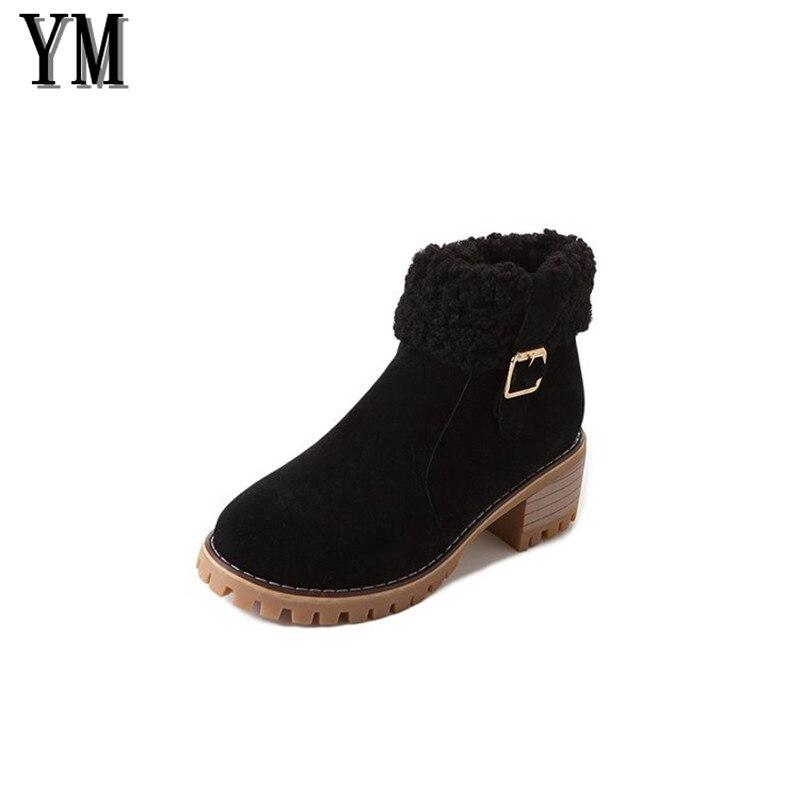 Plataforma Invierno 39 Marca Mujer 018 35 Las negro Tamaño Piel Tobillo De Calzado Beige Mujeres Grueso La Nieve Zapatos Negro Botas Tacón xqH8qX6