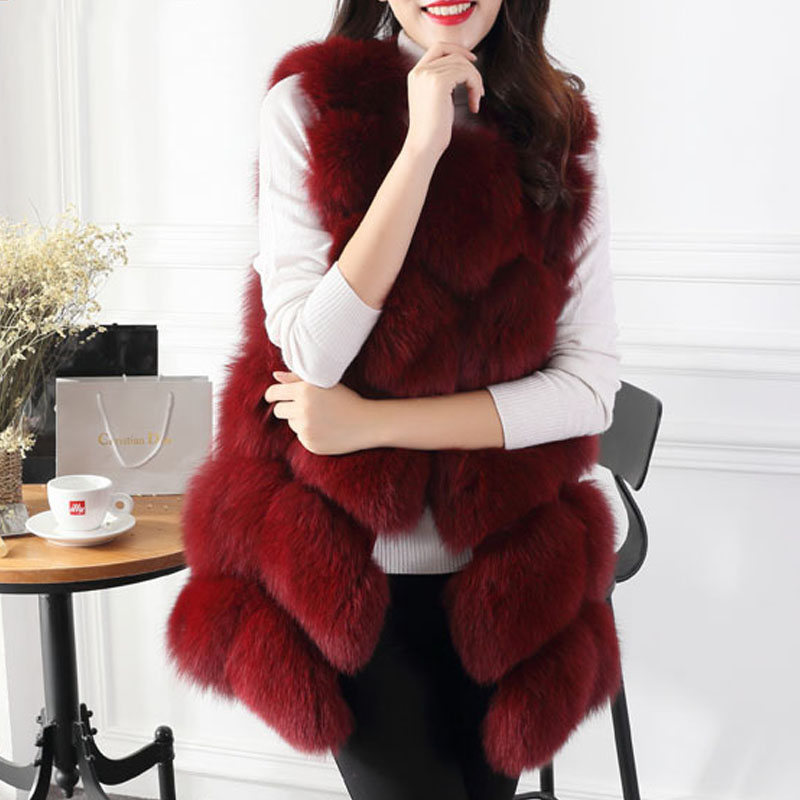 Good Feedback Womens Winter Warm Faux Fox Fur Jacket Coat Outerwear Overcoat Parka Vest Sleeveless Long Slim XXL 2XL Q1778  -  Shanghai YR Co, Ltd store