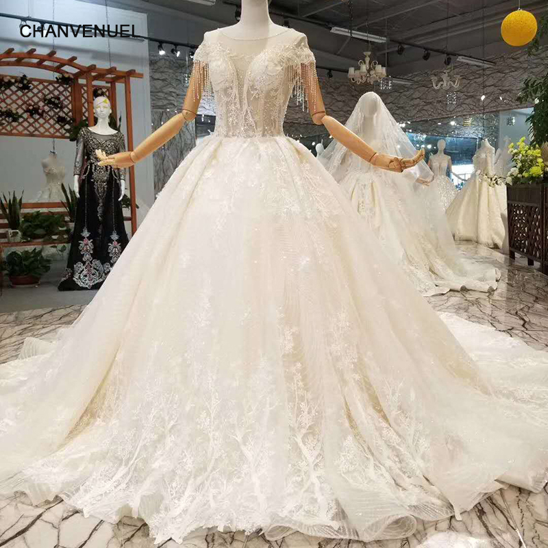 LSS102 Lastest Design Wedding Dresses O Neck Short Sleeves