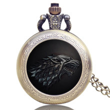 Cool Necklace Wolf Stark Vintage Pendant Retro Quartz Game of Thrones Design Bronze Chain Men Floating Glass Pocket Watch