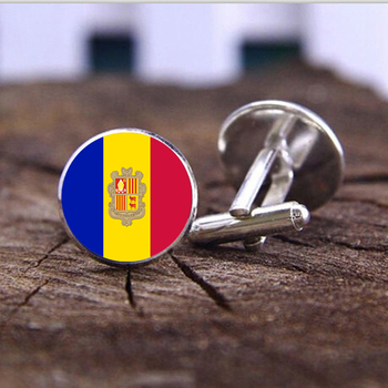 New Arrivals Silver Plated Andorra national flag Cufflinks for men and women 18mm glass Cufflinks jewelry Accessories image
