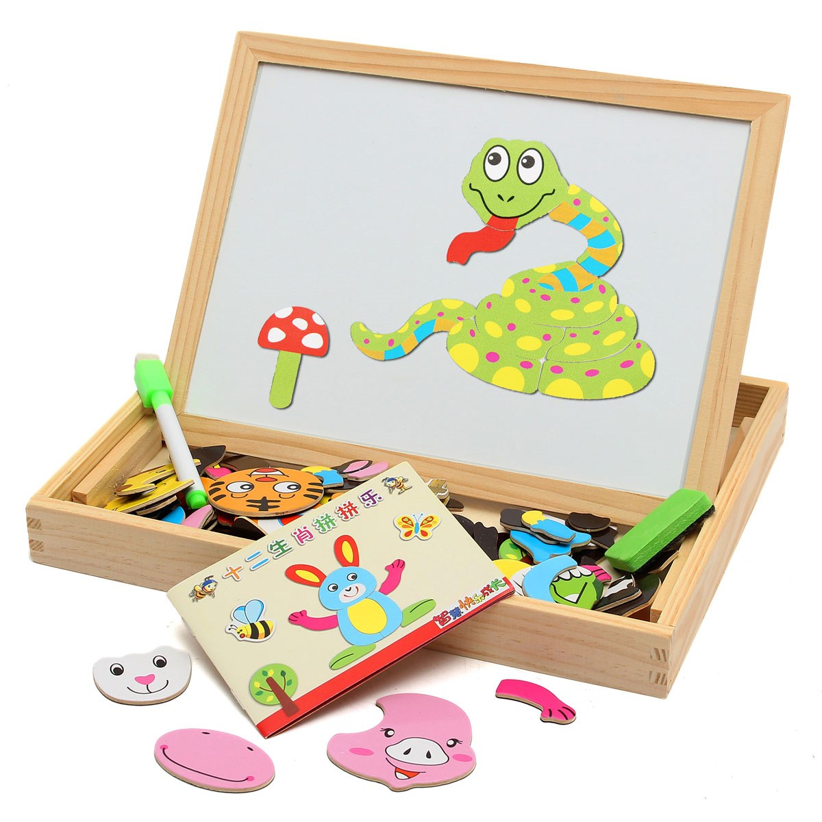 New-Arrival-Drawing-Writing-Board-Magnetic-Puzzle-Double-Easel-Kid-Wooden-Toy-Gift-Children-Intelligence-Development-Toy-2