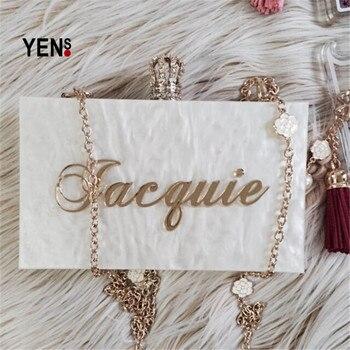 YENS Handmade Bling Acrylic Clutch Custom Name Clutch Evening Bags Wedding Bridesmaid Handbag Different Colours Available