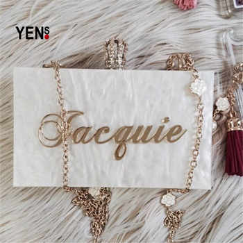 YENS Handmade Bling Acrylic Clutch Custom Name Clutch Evening Bags Wedding Bridesmaid Handbag Different Colours Available - DISCOUNT ITEM  10% OFF All Category