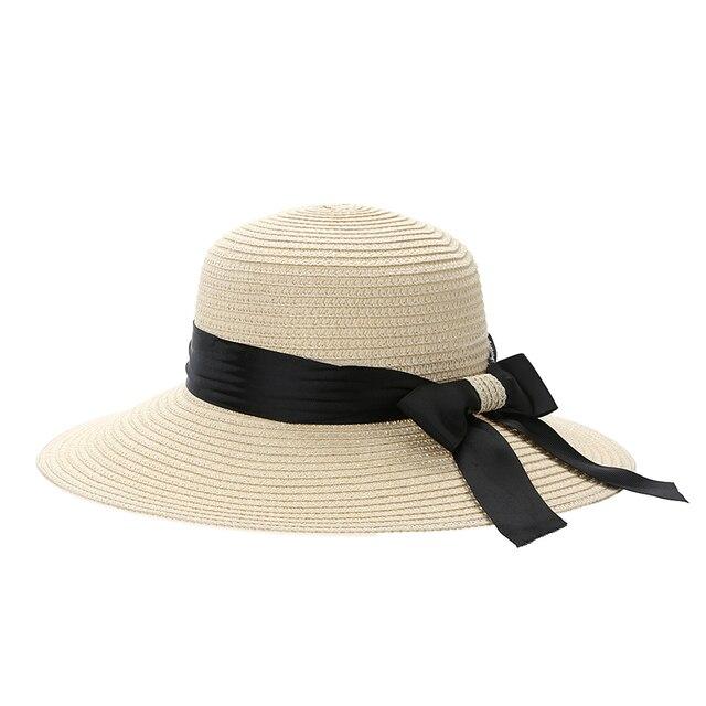 Sombrero de paja de moda mujeres Primavera Verano vacaciones playa sombrero  de ala ancha Floppy playa dc5a109879b