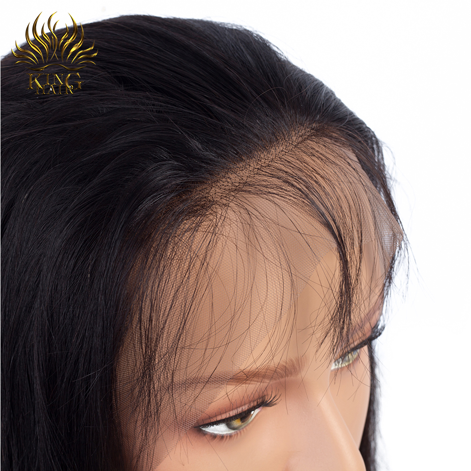 KING HAIR 360 Lace Frontal Wig Pre Plucked With Baby Hair Brazilian Straight Hair 100% Remy Human Hair Lace Frontal Closure