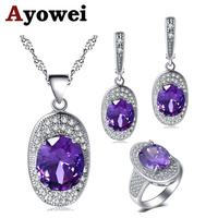 Ayowei слитки дизайн фиолетовый циркон для женщин Серебряные серьги цепочки и ожерелья кулон кольца Ювелирные наборы США Размеры #6 #7 #8 #9 #10 JS718A