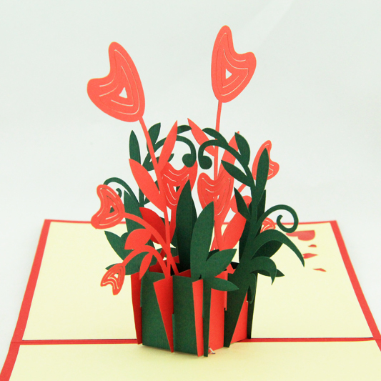 Heart  flower  /3D pop up card/ handmade greeting cards  Free shipping butterfly orchid flower thank you card 3d pop up greeting card handmade card free shipping
