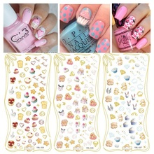BEAR YBL25-26-27 cupcake 3 pcs newest water nail art decals sticker nailseal decoration supplie bling bling stickers decoration