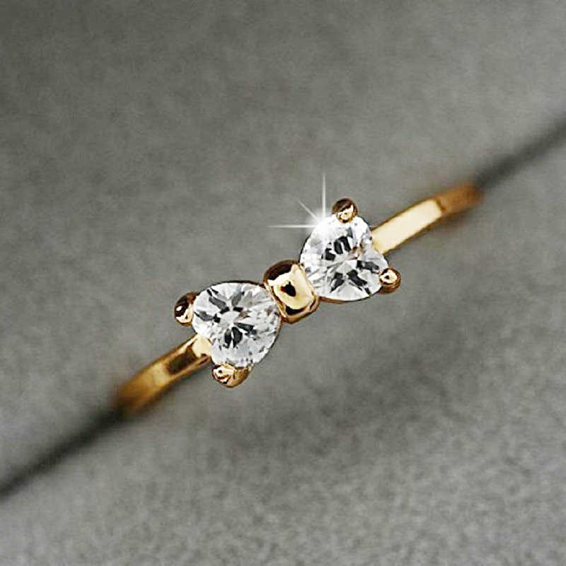 Fashion Austria Crystal Rings Gold Color Finger Bow Ring Wedding Engagement Cubic Zirconia Rings For Women Wholesale New
