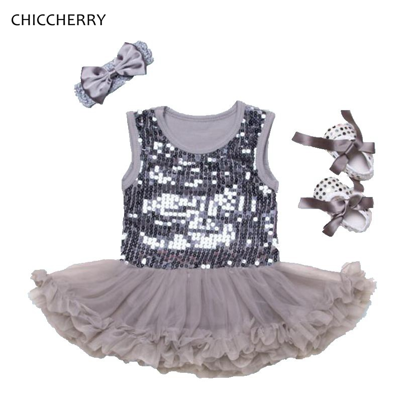Shining Paillettes Gray Baby Lace Romper Set Girls Dresses Headband Crib Shoes Newborn Tutu Sets Roupas De Bebe Vestido Infantil
