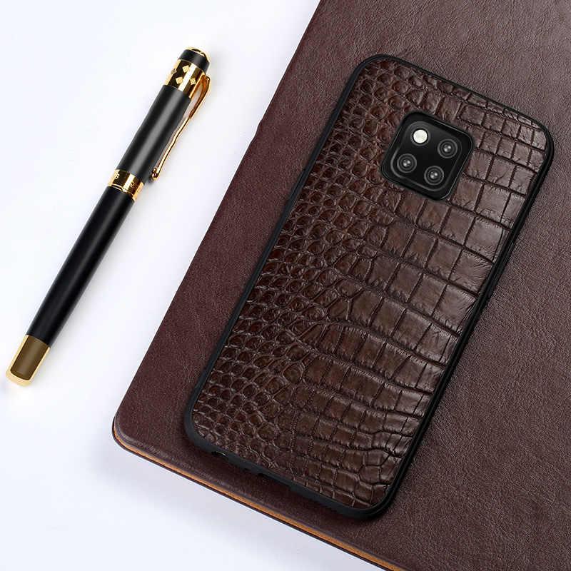 Asli Crocodile Leather Phone Case untuk HUAWEI Mate 20 Pro Mate 30 P20 P30 Pro Lite Cover untuk Kehormatan 8X v20 10 20 Pro Mewah
