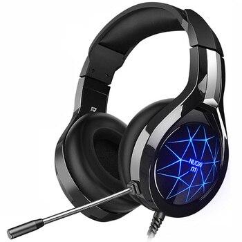 NUOXI N1 Игровые наушники шлем компьютер стерео глубокий бас Игры наушники гарнитуры с микрофоном светодио дный Подсветка для PC Gamer