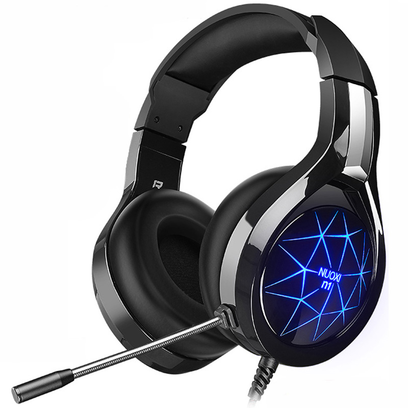 NUOXI N1 Gaming Headphone casque Computer Stereo Deep Bass Game Earphone Headset with Mic LED Backlight for PC Gamer salar kx101 deep bass gaming headset earphone headband stereo headphones with mic for pc gamer headphone for computer