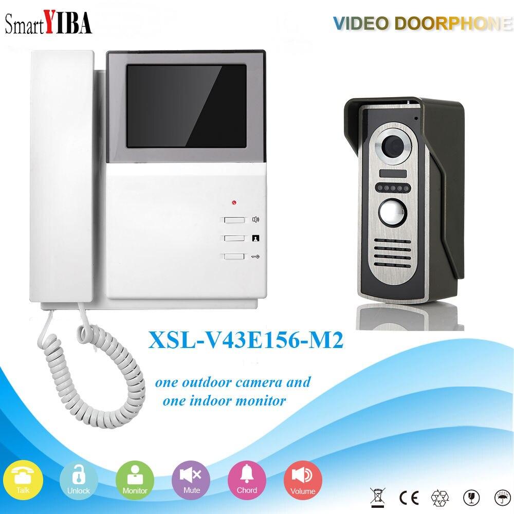 SmartYIBA 4.3 Inch Handheld Video Intercom Color Monitor Remote Unlock Wired Video Doorbell Doorphone Night Vision Camera IR CUT