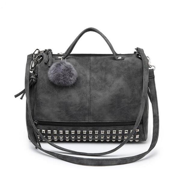 Artificial leather Women s Bags Luxury designer Women Shoulder bag Retro Rivet Motorcycle bags Fashion Ladies